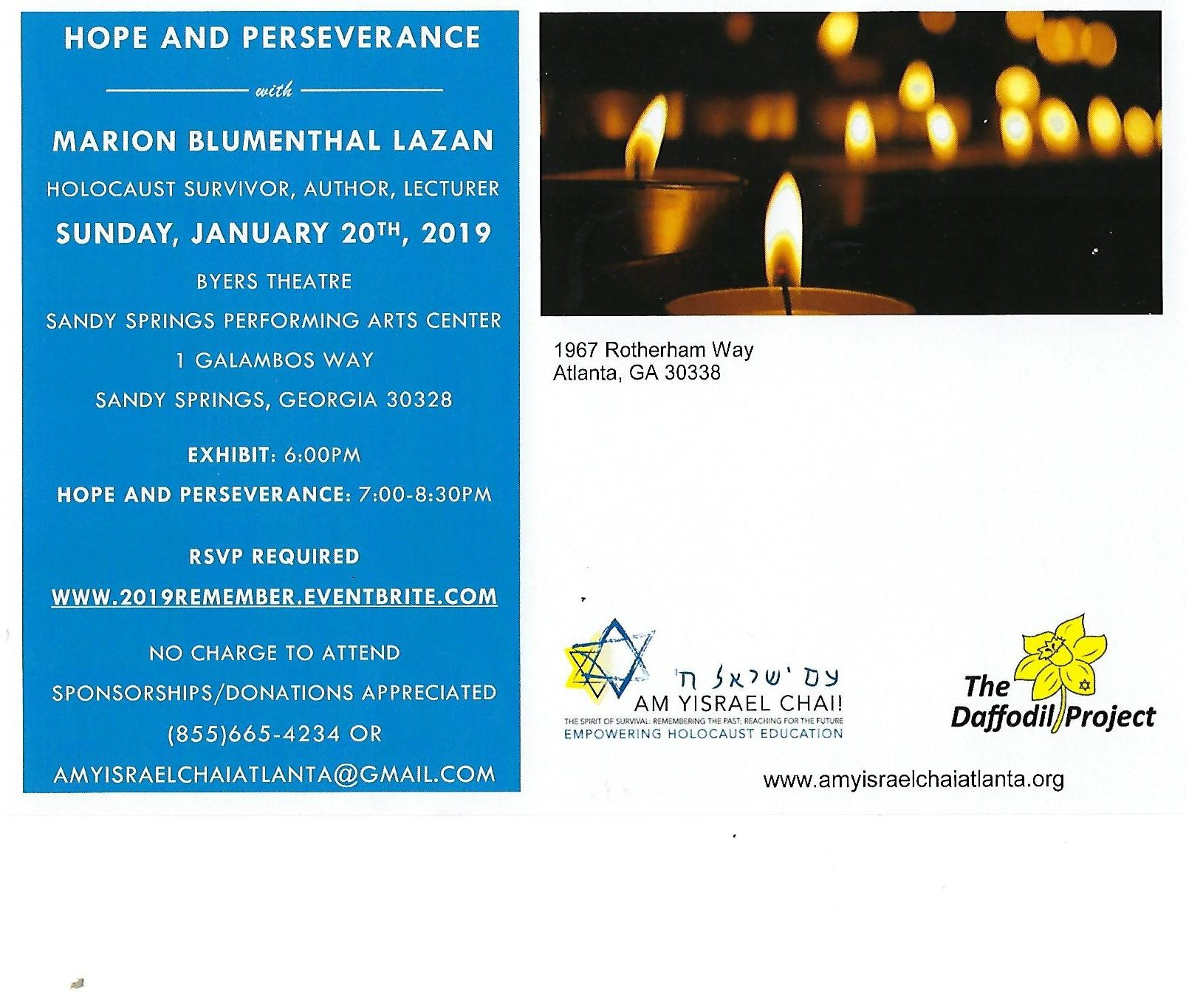 Am Yisrael Chai, International Holocaust Day, Atlanta, GA Keynote Speaker